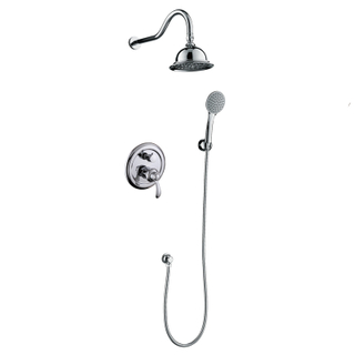 Chrome Brass Wall Mounted Rain Concealed Shower Set With Hand Shower Head