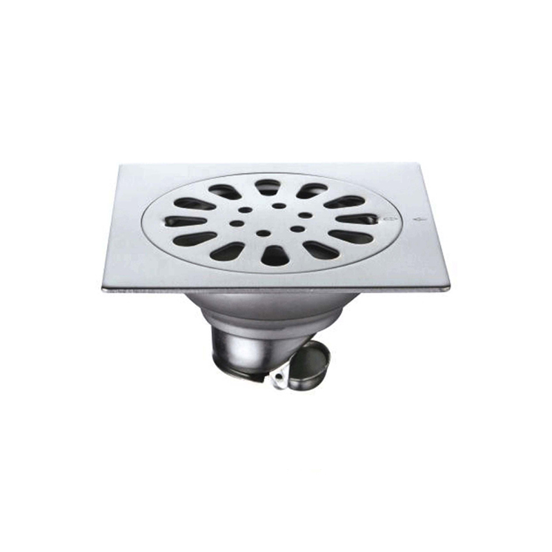 Square Design Floor Drain Trap In Brushed Nickel