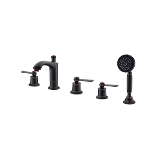 Deck Mount 5 Handle Tub And Shower Faucet With Spray In Gold