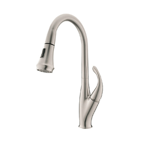 Brass Single Handle Brushed Nickel Pull Down Kitchen Faucet
