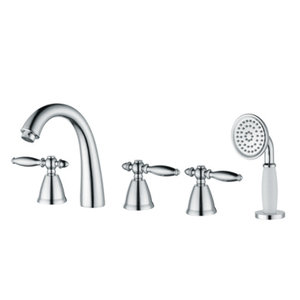 Bathroom Tub Shower Faucets With 3 Handles In Polished Chrome