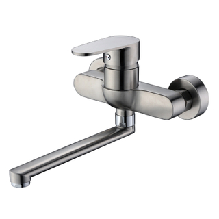 Bathroom Wall Mounted Stainless Steel Brushed Nickel Bathtub Bath Shower Mixer Faucet
