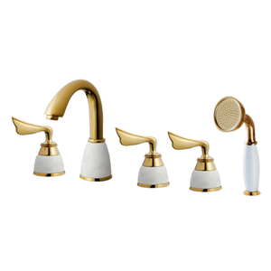 Bathroom Tub Shower Mixer With 3 Handle In PVD Gold