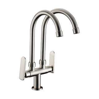 New Style Hot And Cold Water Deck Mount Dual Handle Brass Material Kitchen Mixer Faucets