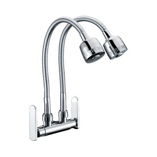 Dual Handle Brass Brushed Steel Kitchen Mixer Taps