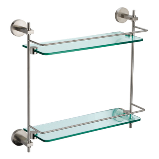Polished Brass Double Glass Shelf For Bathroom