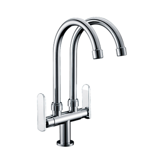 Brushed Nickel Double Handle Stainless Steel Kitchen Faucet