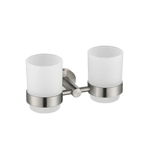 Bathroom Cup Holder | Wall Mounted Stainless Steel Cup Holder | Bathroom Double Cup Holder Brush Nickel Finished